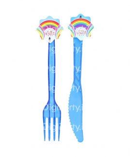 کارد و چنگال تم رنگین کمان